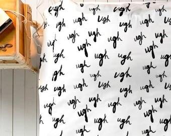 UGH Duvet, Funny Duvet Cover, Cute Duvet, Black White Duvet, Queen Duvet, King Duvet, Twin Duvet, Minimal Bedroom Decor, Minimal Duvet Cover