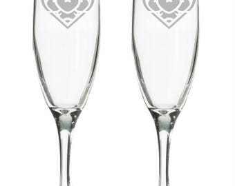 Heart Container champagne flutes, video game wedding, wedding flute, Nerdy Wedding gift, Geeky wedding gift, Toasting glasses, Gamer wedding