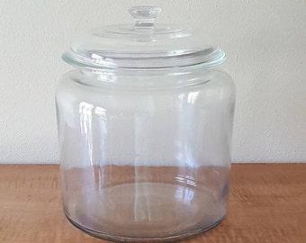 Vintage  One Gallon & Half Clear Glass Jar with Lid~Cookie Jar~Pickle Jar~Storage Jar~Large Canister~Large Kitchen Glass Jar with Glass Lid