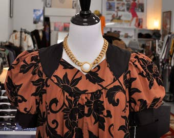 Brown and Black Floral Print Hawaiian Dress by Carol Bennett with Large Billowing Hem