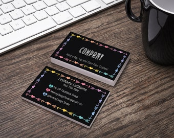 Black Arrow & Heart Black Business Card - HO Approved Branding Guide Fonts/Colors - Leggings Business Cards- MulaCash -DoorHanger -Magnet