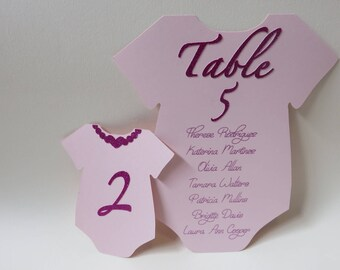 Baby Shower Seating Chart, Baby Shower Place Cards, Custom Baby Shower Place Cards, Baby Shower Table Numbers, Baby Shower Onesie Place Card