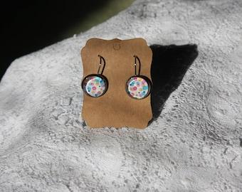Polka dot glass cabochon drop earrings, stainless steel