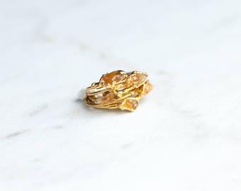 Raw Citrine Ring | November Birthstone | Raw Crystal Ring | Statement Ring | Rough Citrine Ring | Raw Gold Ring | Petite Ring, Stacking Ring