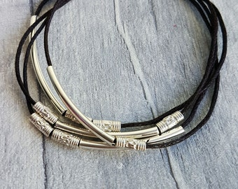 Beaded bracelet, bead bracelet, cord bracelet, boho jewelry, bohemian bracelet, friendship bracelet,  layered bracelet, waxed cord
