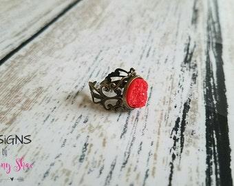 Cherry Red Druzy Filigree Ring