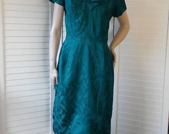 emerald green 1950s silk wiggle dress
