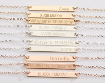 Custom Name Jewelry-Custom Coordinates Necklace-Dates-Rose Gold Bar Necklace-Mom-Bridesmaids Gift-14K Gold Filled-Rose Gold-Silver-CG249N