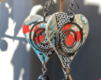 Japanese Decoupage Contemporary Earrings