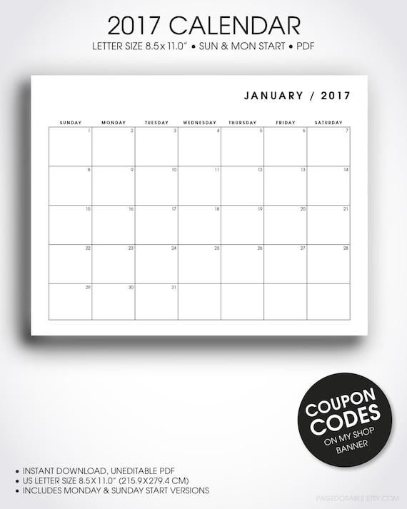 2017 Calendar Minimalist : Minimalist desk calendar printable letter size