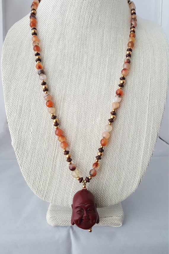 Happy Buddha red agate necklace