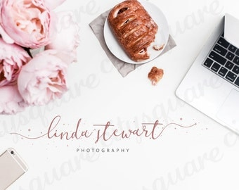 Premade Logo, Pink Calligraphy Logo Design, Typography Trendy Design Logo, Customizable Business Logo Design, Handwritting Logo Template