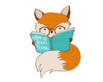 How to Stay Clever fox reading fox Hipster Vintage SCG PNG DXF digital file