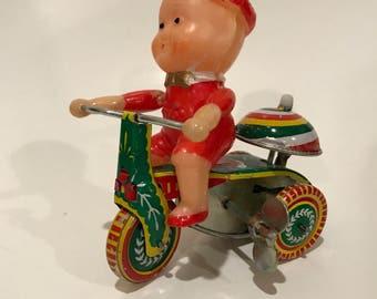 Vintage China Tin Litho Wind up Boy on Bike 261 PS013