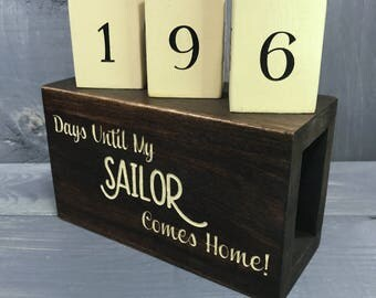 Countdown Blocks - Days Until My Sailor Comes Home - Navy Deployment Countdown