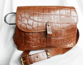 Vintage Leather Mulberry Shoulder Bag, Large Brown Faux Crocodile Tote Bag, Strap and Etched Tag