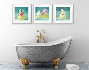 Square Print Set, Bathroom Wall Art, Set of 3 Prints, Nursery Wall Art, Cute Photographs, Rubber Ducks, Funny Prints, Kid's Wall Art, Family