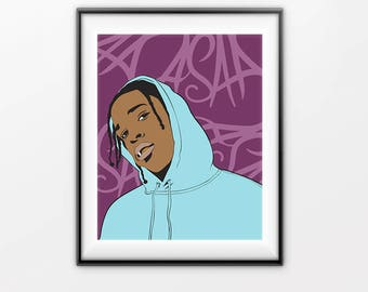 Asap Rocky print, Asap Rocky printable, modern art prints, pop prints, digital printable, asap printable