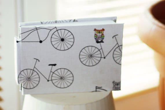 Notebook A6 Bike Black White Owl Handmade Minimalist Simple 100 pages