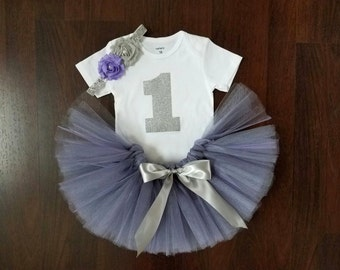 Baby Girl 1st Birthday Outfit - Purple and Gray Tutu