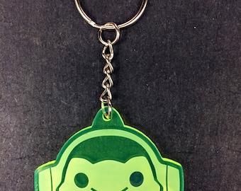 Overwatch Lúcio Keychain (fluorescent green acrylic, laser-cut)