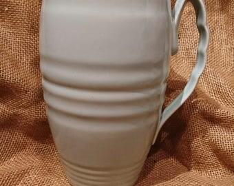 Vintage Beswick Pottery Floral Fan Shaped Vase 1930s Blue