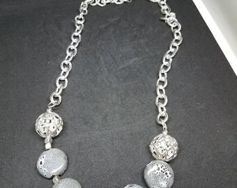 Chain Necklace with Black and White Spotted Beads
