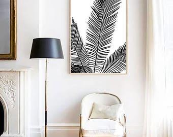 Palm Leaves PRINT, Palm Leaf Poster, Palm Tree Wall Art, Scandinavian Print, Modern Minimalist, Black & White, Tree Print, Tropical Decor