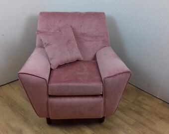 Vintage Retro Pink Velvet  Armchair