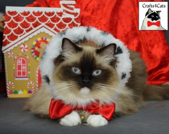 Cat Christmas Standing Hoodie-like Collar & Red Bowtie with Bell Set - Royal Cat Costume - Made of Velvet Fabric and Red Satin