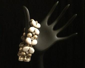 Vintage Gold, White and Crystal Bracelet