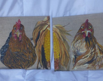chickens chicks acrylic on linen canvas Board
