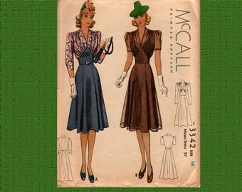 "McCall 3342 1939 Misses Dress Pattern, 32"" bust, complete, used gently"
