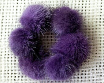 Hair ties with genuine mink fur pompoms