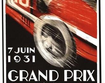 Vintage 1931 Geneva Grand Prix Motor Racing Poster A3/A2/A1 Print