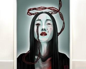 Inner Pain - original signed digital illustration print- horror wall art