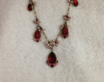 Vintage red and rose necklace