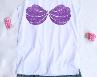 Purple Glitter Ariel Mermaid Shell. Ariel tank top. Ariel tee. Mermaid tank. Disney princess. Disney tank. Disney family shirts.Disney shirt