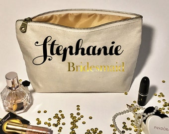 Personalized wedding Makeup Bag- Canvas cosmetic bag- Bridesmaid Gifts Ideas - Tote - Wedding favors- Bridal party bags- Zipper pouches.