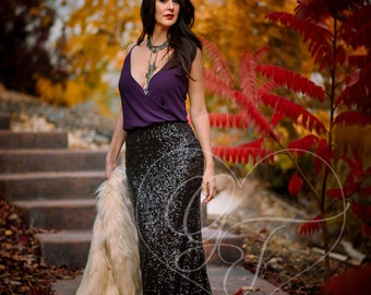 Sparkly Black Sequin Maxi Skirt - High Waist Trumpet/Mermaid