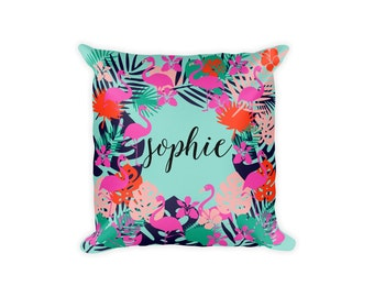 Custom Name Pillow Cover, Flamingo Pillow, Personalized Pillow Cover, Tropical Pillow Covers, Flamingo Pillowcase, Monogram Pillow Cover,