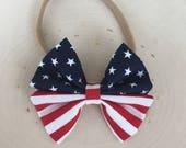 Nylon Baby Girl Bow Headband - baby boy bow tie - fabric bow- American flag