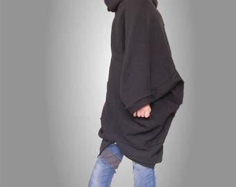 Maternity Hooded Overall, Black Oversized Overall, Maxi Hoodie, Bizarre Loose Comfy Overall, Edgy Cotton Overall, Plus Size overall