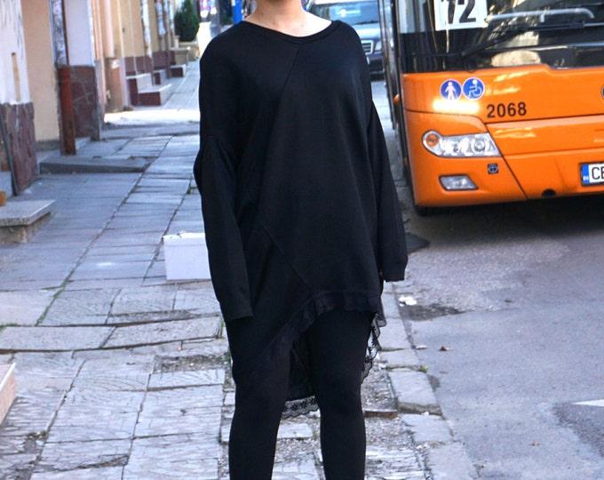 Extravagant Maxi tunic / Oversized Lace Assymetric dress tunic / Fashion Loose Black tunic dress