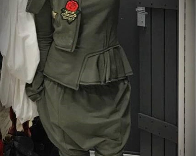 NEW Military Asymmetric Green Extravagant Set / Sexy Cotton Harem Pants and Top / Fashion Military Green Striped Set