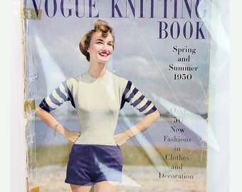 Vintage 50's Vogue Knitting Book Magazine, Vintage 1950s Fashion - Mid Century Spring and Summer 1950- Vintage Birthday Gift