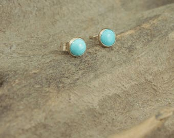 Sleeping Beauty Turquoise Studs, 5mm with sterling silver post