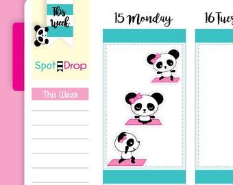Panda Bear Yoga Stickers, Yoga Planner Stickers, Panda Planner Stickers // PB47