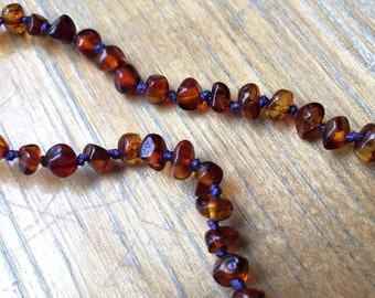 "12"" Amber Teething Necklace, custom amber necklace, cognac amber teething necklace, custom amber baby necklace, Baltic amber baby necklace"
