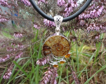 ammonite suddenly RAS and citrines, 925 Silver